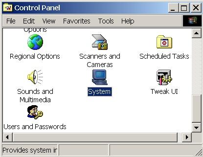 öffne control panel